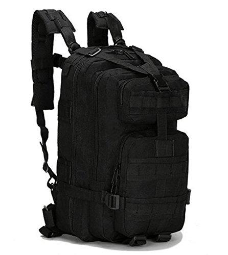 tacvasen 35L MOLLE Military Rucksack Wasserdicht Oxford Rucksack Tactical Outdoor Sport Tasche für Wandern, Trekking, Camping, Klettern Reise 3P Camouflage Attack Assault Day Pack Schwarz