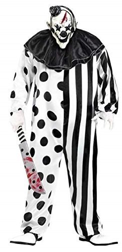 arz Weiß Dead Gruselig Killer Clown + Maske Halloween Kostüm Kleid Outfit - Schwarz/Weiß, STD (Halloween Clown Outfits)