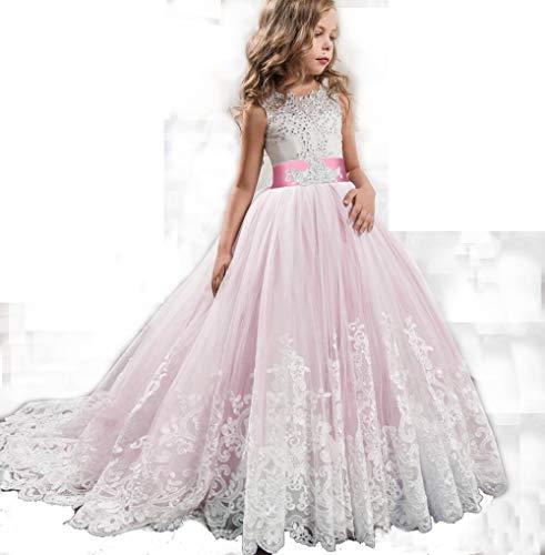 Kinder Brautjungfer BlumenmäDchen Hochzeitskleid FüR MäDchen Abendgesellschaft Kleider Sommer Teenager Kinder Prinzessin Kleid,Pink,160CM (Pageant Pink Kleider Kinder)