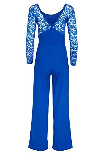 Eleganter Laeticia Dreams Damen Jumpsuit Einteiler mit Spitze Bootcut S M L  Royalblau