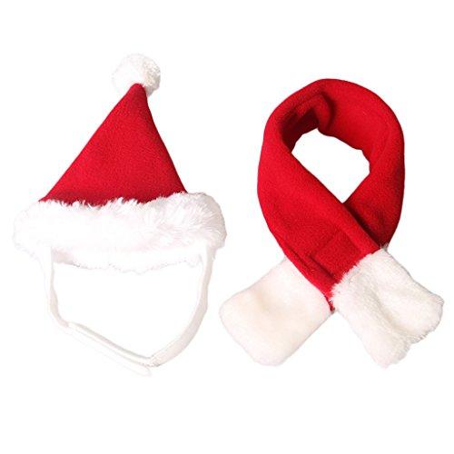 MagiDeal Regolabile Pet Gatto Gatto Natale Santa Cappello con Sciarpa Costume Accessori per Festa, Natale - Rosso e Bianco, S