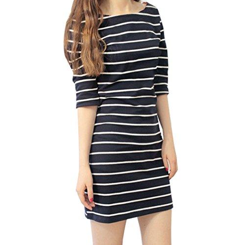 ZEARO Casual Damen Minikleid Striped Halbarm Paket Hüfte Schlank Blusenkleider Tunika Pullover Dunkelblau