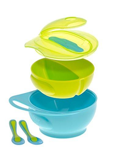 Brother Max - Set con ciotola per svezzamento, facile da impugnare, colore: blu/verde