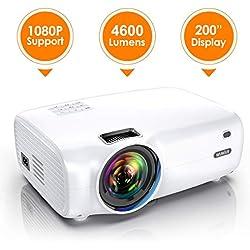 Vidéoprojecteur, WiMiUS 4600 Lumens Vidéo Projecteur Portable Full HD Soutien 1080P Rétroprojecteur 720P Native Mini Projecteur LED 60000 Heures HDMI/VGA/AV/TF/USB pour Home Cinéma ou Plein air