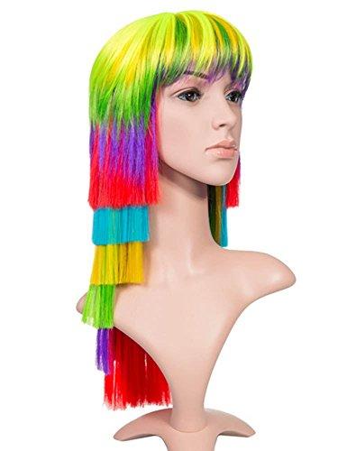 Neue Partei Halloween-Kostüm lang Blunt Layered Rainbow Multicolour Full Head Perücke mit Fransen (Blunt Kostüme)