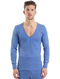 2COZEE® Mens/Gentlemens Thermal Underwear V Neck Long Sleeve Vest Interlock 8 X 1 Various Colours & Sizes