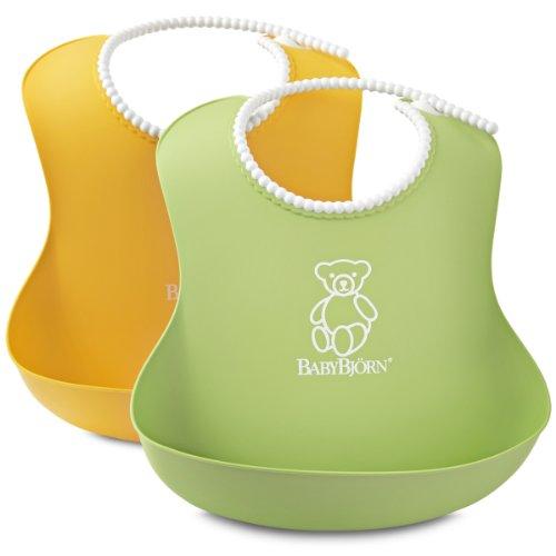 BabyBjörn Babero Blando 2 uni., Color Verde y Amarillo, para bebés a...