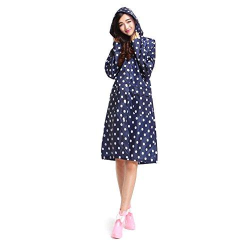 Dopobo élégantes mesdames Vêtements de pluie imperméable à pois à capuche pour femme Bleu