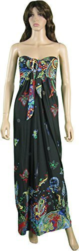 Femmes Angela Bandeau Nœud Buste Robe Maxi, Tailles UK 8-22, Multiple Couleurs Noir Floral