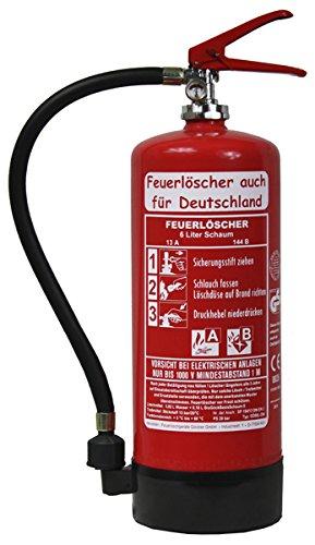 NEU 6 L Schaum Feuerlöscher auch für Deutschland Brandklasse AB DIN EN3 GS + Wandhalter + Manometer + Standfuß