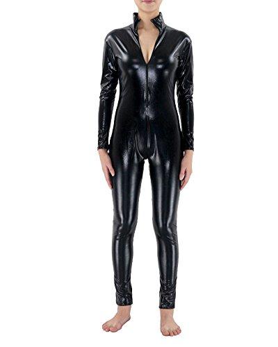 suit Lange Ärmel Overall Metallisch Kopflos Catsuit Catwoman Overallkostüm Clubwear Schwarz XXXL (Leicht Catwoman Kostüm)