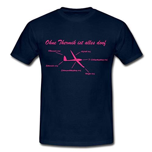 Spreadshirt Ohne Thermik ist Alles doof Segelfliegen Flugzeug Segelflug Männer T-Shirt, L, Navy