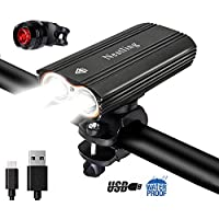 Nestling®2400Lumens CREE XML-T6 LED Bike Light Set USB Rechargeable,IP-65 Waterproof Front Bicycle Lights Headlight & Free Taillight,4 Modes Cycle Lights Safety for All Road Bicycles Mountain Bikes