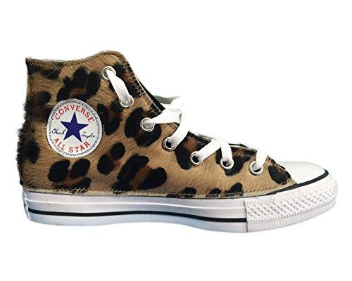 Converse All Star con applicazione di tessuto leopardato e velluto nero Multicolor