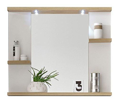 Badezimmerspiegel Badspiegel Wandspiegel | Dekor | Weiß | Eiche Rivera | LED-Beleuchtung