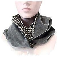 snood femme gris et beige tissu motifs geometriques, echarpe infinie en  velours et jersey, e8db37b5ecc