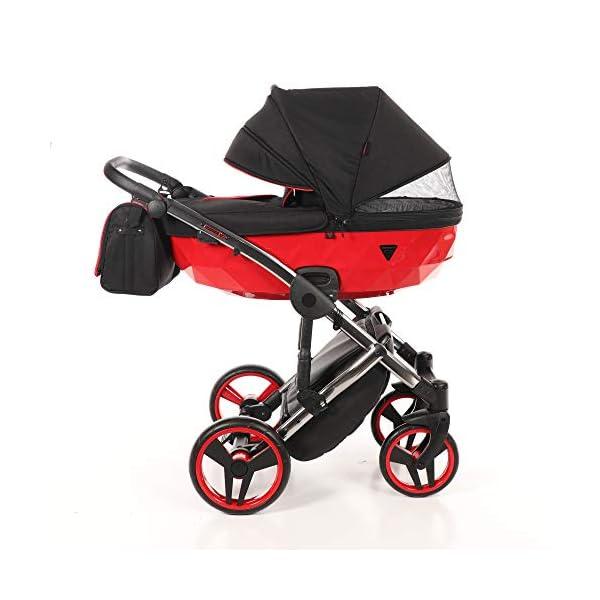 Baby PRAM Pushchair Set JUNAMA Diamond S-LINE BABYWAGEN Buggy BABYSCHALE + ZUBEHÖR (01 Rot-Schwarz, 3in1) JUNAMA Lockable swivel wheels Light alluminium chassis 2 separate modules - baby tub, sport seat 2