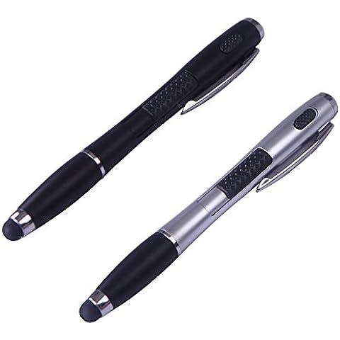 HDE 3-in-1multifunzione Touch Screen Pennino Capacitivo torcia penna a sfera per dispositivi