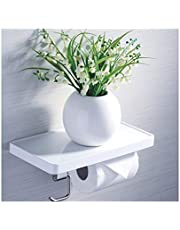 aquieen ABS Bathroom Shelves with Stainless Steel Toilet Paper Holder (White)