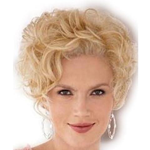 SHKY Art und Weise lockiges wellenförmiges blondes kurzes Haar-Perücken-Qualitäts-Perücke für Frauen Cosplay oder tägliche Gebrauch