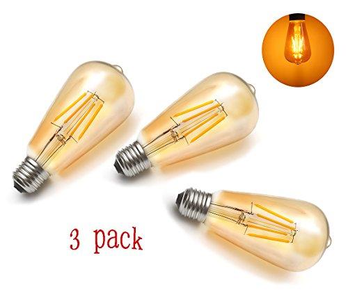 Preisvergleich Produktbild Vintage Edison Glühbirne,MENTA E27 4W LED Retro Lampe Soft Spiral Filament Dekorative Glühbirne Ersetzt 40 Watt,360LM 2300K 220-240V,ST64 Filament Fadenlampe Für Nostalgie Retro Industry Style Leuchtmittel,3 Stück