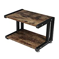 OROPY Wooden Printer Stand with Sturdy Metal Frame, 2-Tier Desktop Storage Organiser for Fax Machine, Scanner, Files, Office Supplies with Adjustable Feet