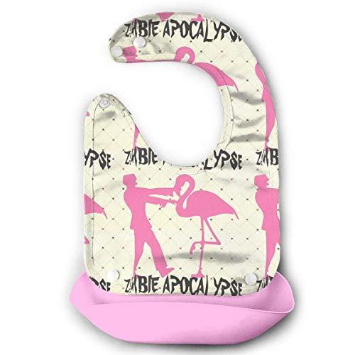 Zombie Apocalypse Flamingo Wasserdichtes Lätzchen aus Silikon für Kleinkinder mit Tasche