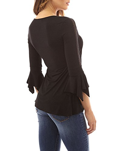 Minetom Damen Sommer Sexy 3/4-Arm V-Ausschnitt T-Shirt Mit Schnürung Tops Frauen Beiläufige Normallacks Plissierte Blouse Oberteile Schwarz