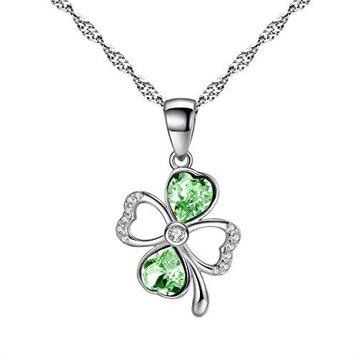 Sterling Silber Grün Vier Blatt Klee, Glück Symbol Anhänger Halskette Swarovski Kristall, kommen mit Kette und Geschenk-Kasten -