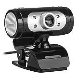 Crazy-Store Webcam 720P 12MP drehbare Kamera mit Mikrofon und LED-Lichtern für PC/Laptop Schwarz/silberfarben