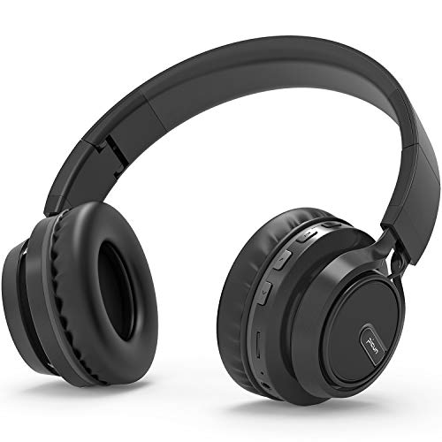 Bluetooth Kopfhörer BAONUOR Kabelloser Kopfhörer BT 5.0 mit Kräftigen Bass-Sound, 45 Stunden Spielzeit, Beleuchtung Effekt, Mikrofon Freisprechen für Smartphone/PC, Schwarz