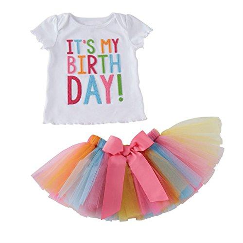 Puseky Kleinkind Baby Mädchen Geburtstag Kleidung T-Shirt + Regenbogen Mesh Tutu Rock Outfit Set (Grils Kleidung)