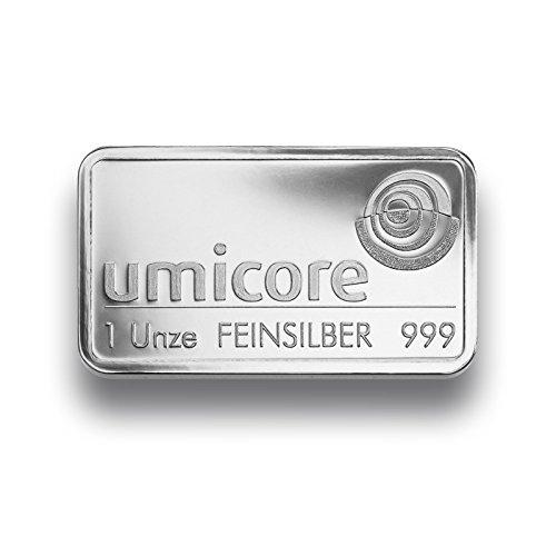 Silberbarren 1 Unze von Umicore - 999 Feinsilber - einzeln in Folie sicher verpackt -