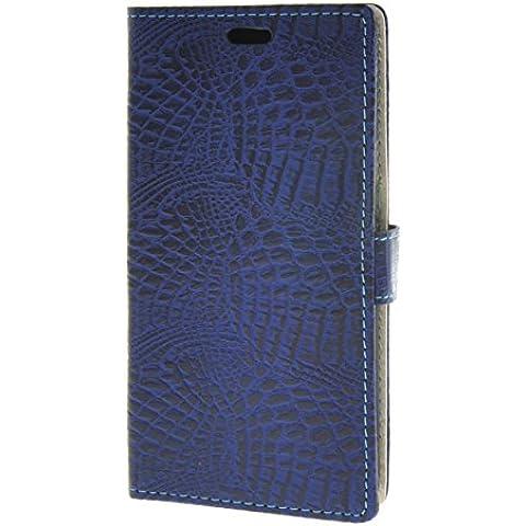 MOONCASE per Motorola Moto X Play Case modello del serpente Leather Custodia in pelle Flip Case Protettiva Portafoglio Cover Zaffiro