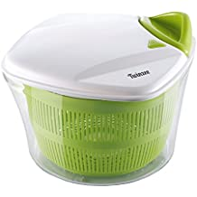 Centrifuga per insalata e verdure di grande capacità (5 litri) Twinzee - Design innovativo con griglia di scarico dell'acqua e vaschetta insalatiera – Essiccazione facile ed efficace grazie alla maniglia da tirare.