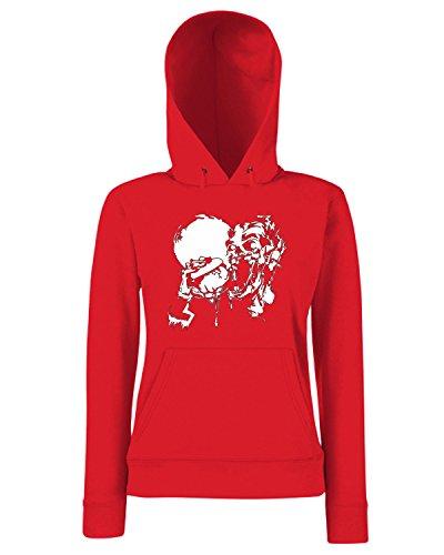 T-Shirtshock - Sweats a capuche Femme FUN0011 01 12 2014 Zombie Burger T SHIRT det Rouge