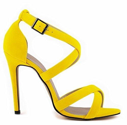 ANGATRADE - Sandales BRETELLES, Sandales femme haut talon, Sandales de soirée, Sandales mode 2016, Chaussures confortable, Sandales de Gala - Sandales BRETELLES Jaune