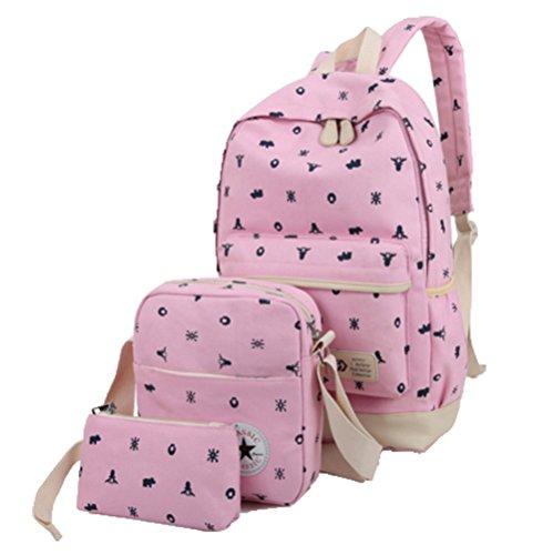 Ohmais 3PCS Rücksack Rucksäcke Rucksack Backpack Daypack Schulranzen Schulrucksack Wanderrucksack Schultasche Rucksack für Schülerin pink