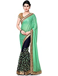 Kvsfab Women's Georgette Half N Half Embroidery Saree, Blue & Green