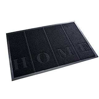 High Quality Rug & Shoe Scraper ✓ Extremely Durable ✓ Exterior and Interior ✓ Washable ✓ PVC Free - Entrance Mat, Welcome Mat - Exterior dust mat, Dirt trapping mat (HOME 40x60 cm, black)