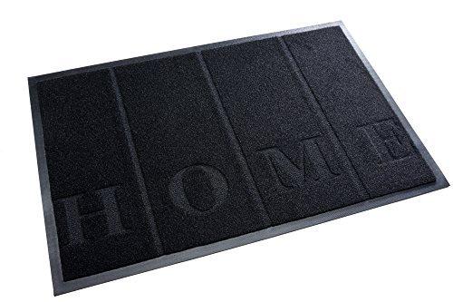 acerto 30211 Premium Fußmatte Schmutzfangmatte HOME schwarz 40x60cm * Extrem strapazierfähig * Außen & Innen * Frostsicher * PVC-frei - Sauberlaufmatte Haustür Schmutzmatte Türmatte Design Türvorleger