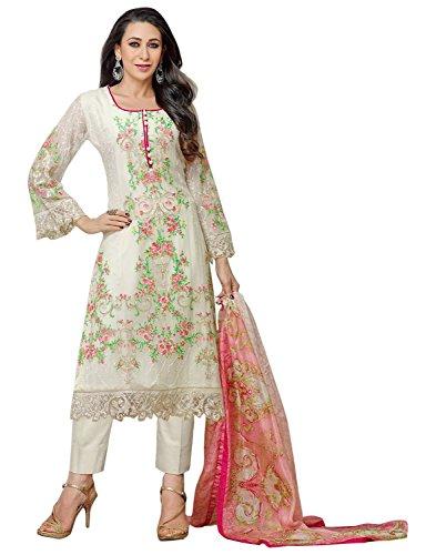 Surat Tex Women's Georgette Semi-Stitched Anarkali Suits (F929DL2071SU_White)
