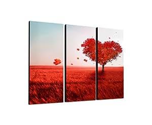 herz baum liebe rote bl tter 3x40x90cm dreiteiliges wandbild auf leinwand und keilrahmen. Black Bedroom Furniture Sets. Home Design Ideas