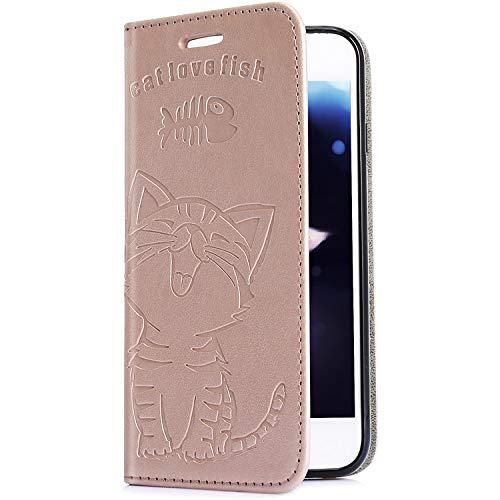 Uposao Handyhülle für iPhone XR Leder Tasche Flip Case Cover Lederhülle Niedlich Katze Muster Klapphülle Handytasche Brieftasche Lederhülle Mit Magnetverschluss,Rose Gold