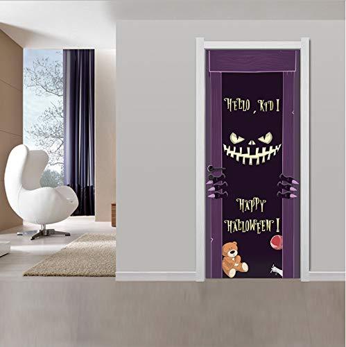 matianyou Tür Aufkleber DIY Halloween Teufel Lächeln Tür Aufkleber Für Kinderzimmer DIY PVC Dekoration Wandtattoos Vintage Poster Hintergrund Dekorative 77X200 cm