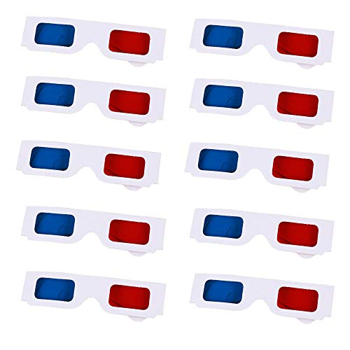 214dc1f469 SunnyClover Gafas estéreo 3D Plegables 10 Piezas Gafas de cartulina 3D Azul  Rojo para películas,
