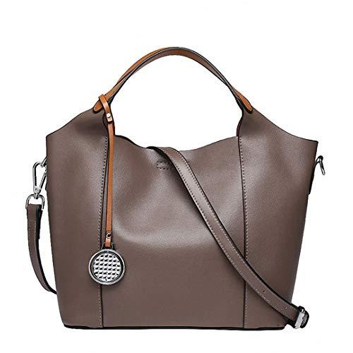 Damen Echtes Leder Tote Bags Schultertasche Casual Crossbody Messenger Bags Khaki 23X27X13Cm