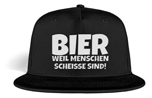 PlimPlom Bier Weil Menschen Scheiße Sind Snapback Gestickt - Malle Party Mütze - Kappe -Einheitsgröße-Schwarz (Ich Liebe Bier Kostüm)