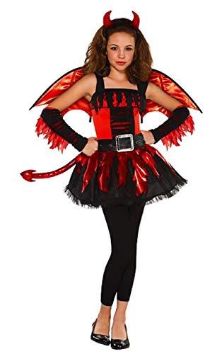 Fancy Me Mädchen Teen rot schwarz Teufel Fee mit Flügeln 5 Stück Halloween Kostüm Kleid Outfit 12-16 Jahre - 12-14 ()