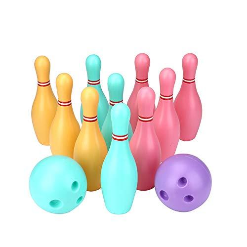 Bowling-Sets Bowling Spielzeug Set Spiel Bunte Kunststoff Bowling Ball Pins Party Favors Kit Sport Kleinkind Lernspielzeug 12 Stücke Geschenk Für Kinder Baby Jungen Mädchen Lustige Geschenke für Kinde - Baby-mädchen-spiel-yard